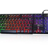 Rii RK100+ Multiple Color Rainbow LED Backlit Large Size usb Wired Mechanical Feeling Multimedia Gaming Keyboard