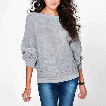 Jumper Women Autumn Winter Sweater Pullover Loose Batwing Sleeve Clothes Cotton Knitted Jumper Female Causal Women Loose Sweater