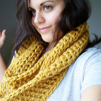 Crochet Infinity Scarf  Mustard Yellow by SoLaynaInspirations