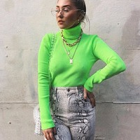 Neon Green Turtleneck Sweater