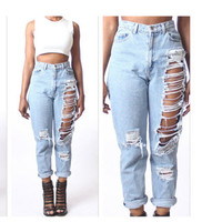 Jeans Hot Sale Ripped Holes Pants Cropped Pants [11716859727]