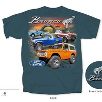 Arrvial American Classic Car Fans Bronco Men& T-Shirt~ Hit The Off Road ~ 1st 2nd 5th Generation ~ Turquoise 3D Print Tshirt