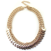 Women Fish Skeleton Pattern Gold-Tone Bib Necklace