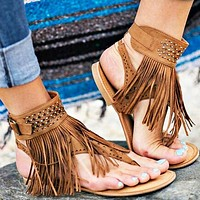 Fashion Hot Sales of Liushu Lou-toe Water Drill Herringbone Flat-soled Sandals Women's Shoes Brown Only one pair