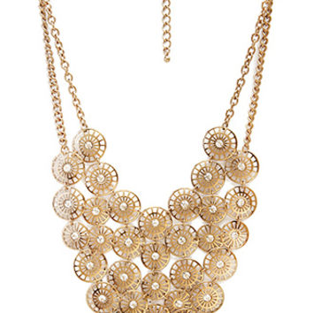 FOREVER 21 Good Fortune Bib Necklace Antic Gold One
