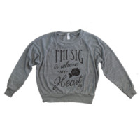 Heather Gray Triblend Raglan / Phi Sig Where My Heart Is