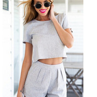 Gray Crop Top and Shorts Set