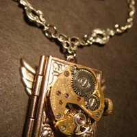 Steampunk Neo Victorian Watch Movement LOCKET Necklace with Wings (760)