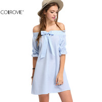 COLROVE Off The Shoulder Striped Summer Style Sexy Women Dresses Casual 2016 New Cute Blue Bow Half Sleeve Shift Dress