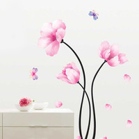 Removable Pink Flower & Butterfly Wall Sticker Mural Decal Bedroom Living Room Decor Art Delightful