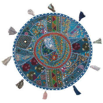 """17"""" Patchwork Round Floor Pillow Cushion in Blue round embroidered Bohemian Patchwork floor cushion pouf Vintage Indian Foot Stool ottoman"""