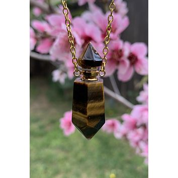 Tiger Eye Perfume Bottle Necklace #I1229