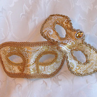 Couples Bright Gold Brocade and Paper Mache Matching Masquerade Masks