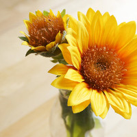 Yellow Sunflower – set of three – silk flower – artificial flower – flower headpiece – wedding décor – gift idea (FB07-1)