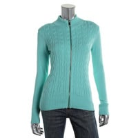 Charter Club Womens Petites Cable Knit Ribbed Trim Full Zip Sweater