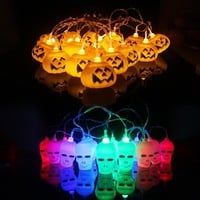 Hanging Halloween Pumpkin Lantern 3D Plastic Skull String Light 16 LED Orange Pumpkin Lights Halloween Holiday Decor B