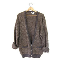 Oversized Slouchy Cardigan Sweater Boyfriend Mens Button Up 80s Womens Thick Knit Retro Vintage Boho Hipster Pockets size Mens Large