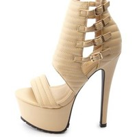 Quilted Ankle Cuff Mega Platform Heels by Charlotte Russe