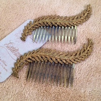 SALE- Comb worn with gold lace in a leave shape, vintage jewelry.