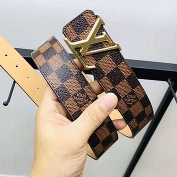 Louis Vuitton LV Fashion Women Men Coffee Tartan Leather Belt