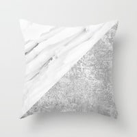Grey / White Marble Texture Throw Pillow by Minimalist