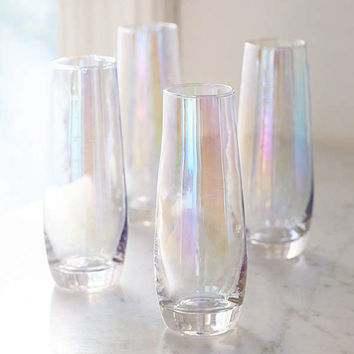 Iridescent Stemless Flute Glass - Set Of 4 | Urban Outfitters