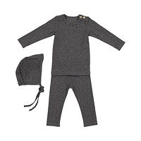 Lil Leggs Unisex-Baby Dark Heather Grey Ribbed Set