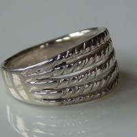 Stamped Sterling Silver 925 5 Row Ridge Ring