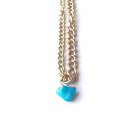 Turquoise gold necklace crystal gemstone blue statement indie trendy urban boho choker chip