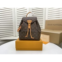 LV Louis Vuitton M45501M45410M45205 Montsouris Monogram Empreinte Shoulder Bag Lightwight Backpack Womens Mens Bag Travel Bags Suitcase Getaway Travel Luggage 27.5 x 33.0 x 14.0 CM