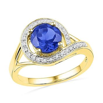 10k Yellow Gold Round Created Blue Sapphire Solitaire Diamond Ring 1-7/8 Cttw