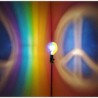 The ORIGINAL Hand-Painted Rainbow Peace Sign Mood-Light Bulb 4 Color Therapy, Night Lights, Parties, Mood Lighting