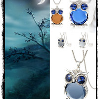 Women's Long Necklace Chain Gray With Blue Crystal Owl Necklace Pendant Necklaces Classic Jewelry