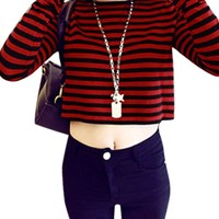Women Pullover Long Sleeves Stripes Casual Crop Top