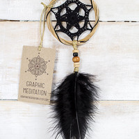 "Black Dream catcher 3"" - Crochet Boho Wall Decor with Beautiful Handmade Lace - Small Hippie Dream Catcher"
