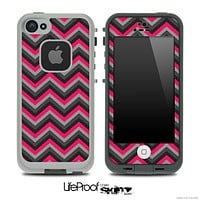 Black and Subtle Pink Chevron V4 Skin for the iPhone 5 or 4/4s LifeProof Case