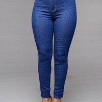 Classic High Waist Skinny Jeans - Stone Blue Wash