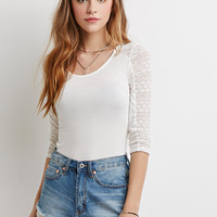 Floral Lace-Paneled Cutout Top