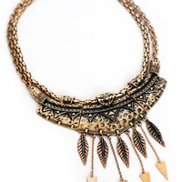 Fringe Leaf and Arrow Tribal Collar Necklace