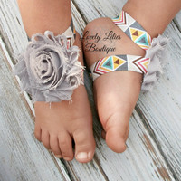 Baby Barefoot Sandals .. Gray Flowers on Aztec .. Toddler Sandals .. Newborn Sandals .. Baby Flower Sandals