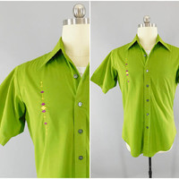 1960s Vintage / Sears Mens Store / Retro Lounge Shirt / Mid Century / Mad Men Style / Custom Embroidered / Club Shirt / Size L / Perma Prest