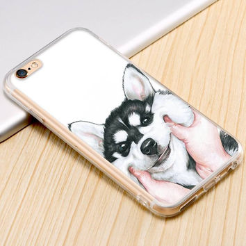 Funny Cute Dog Skull Pretty Girl Black White Paint Art Print Case For iPhone 6 6S/Plus/5 5S SE 5C 4S For Galaxy S7/S6/S5/S6 Edge