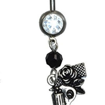 14G 3/8 Inch Length 316L Surgical Steel CZ Gemmed Navel Ring with Winding Rose Around Gun Dangle 834