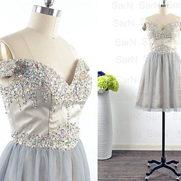 Off the Shoulder Short Formal Dresses, Couture Mini Silver Satin Tulle Homecoming Dresses, Mini Prom Dresses, Silver Mini Prom Gown