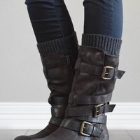 Charcoal Cable Knit Boot Cuffs