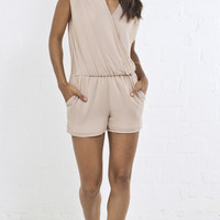 String Detail Simple Romper - Toasted Almond