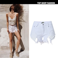 High Waist Denim Women's Fashion Hot Sale Irregular With Pocket Ripped Holes Shorts [6451821060]