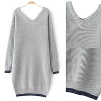 Grey Color Block V Neck Ribbed Sweater
