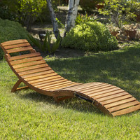 Christopher Knight Home Lahaina Wood Outdoor Chaise Lounge   Overstock.com