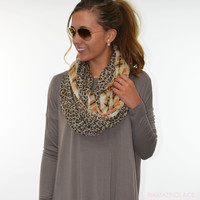 Hear Me Roar Leopard & Plaid Brown Infinity Scarf - Brown